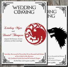 Give your wedding the Game of Thrones treatment right from the start with this standout wedding invitation ($15 for digital file). the game, fan, game of thrones