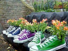 Converse sneaker flower pots