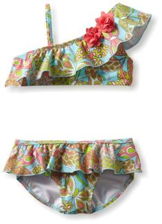 Hartstrings Girls 2-6X Little Butterfly Paisley Print Two Piece Bathing Suit: Clothing