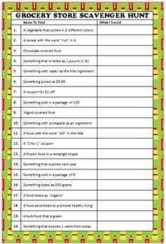 Grocery Store Scavenger Hunt - free printable game #FamilyFun