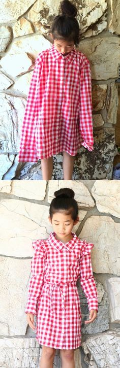 Turn an XL Woman's Shirt into a Girl's Dress by Life is Beautiful