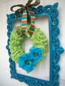 Framed Chiffon Ruffle Wreath for spring:)