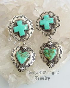 Schaef Designs Turquoise and Sterling Heart Cross Earrings
