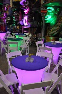 I like the light up look. It would be cool to have some tables purple, some green, and some gold. Good size. Not crazy about the white wood folding chairs partnered with them.    Cocktail Table Covers in WhiteCaps in PurpleSee also: Color-Changing Disklyte for under-table lighting