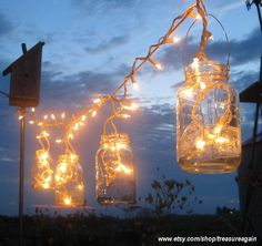 magic, rustic mason jar wedding lights decor LOVE IT