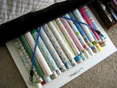 under-the-bed wrapping paper storage diy
