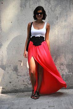 DIY Beaded Belt & Side Split Maxi Skirt