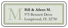 Create your own monogrammed address labels with this pistachio colored label template.