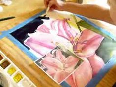 How to paint a tiger lilly pink flower in Watercolor Demonstration By Lori Andrews