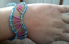 Wavy safety pin beaded bracelet by fawnabella on Etsy, $10.00