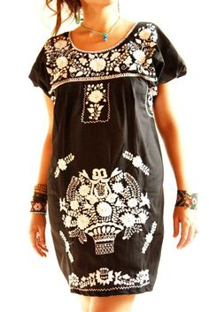 Obsidiana embroidered Mexican dress
