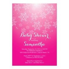 Start your trendy stylish baby shower off right with our stunning white snowflakes set on a pretty hot pink background.  Our trendy, beautiful and modern girls baby shower invitation is perfect for any baby shower especially a winter theme one.  Great for a holiday baby showers.  Available in our shop in a variety of  color assortment.