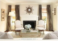 Mirror above the fireplace, love it!