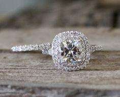 SET - 7mm Cushion Moissanite Diamond Split Shank Engagement Ring in 14K White Gold