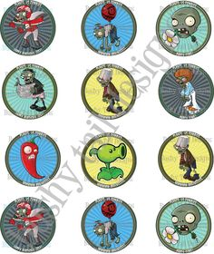 Plants vs Zombies Birthday Cupcake Toppers Customized. $8.00, via Etsy.
