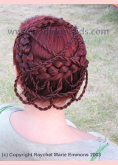 Five-strand dutch braid into crown, with ten mini two-strand rope tail braids