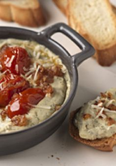 Pesto-Bruschetta Spread – This delicious appetizer spread is a cross between two perennial favorites: pesto and garlicky bruschetta.