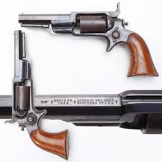 COLT'S SIDEHAMMER POCKET REVOLVER: Although actually designed by Sam Colt himself, the M1855/Root was unusual in that it was the only percussion Colt handgun built with a solid frame and a wrap-around one-piece grip. Offered in both .28 and .31 percussion caliber variations, this sidehammer Colt continued in production through the American Civil War until 1870, even if only around 45,000 examples were to be manufactured.