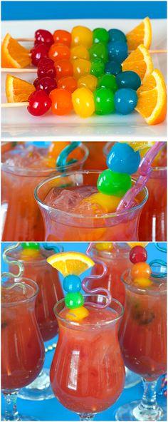 kid drinks, cocktail recipes, kid cocktails, rainbow cherri, hurrican cocktail, rainbow cocktails, kids cocktails, parti, rainbow drinks