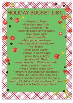 Our Christmas bucket list!!!