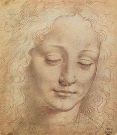 "Leonardo da Vinci (1452-1519). Italian painter, sculptor, architect. High Renaissance. ""Female Head"". Charcoal, chalk on paper. Galleria degli Uffizi, Florence, Italy."