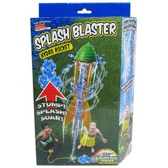 Splash Blaster Hydro Rocket by Prime Time Toys - $22.95  Stomp! Splash! SOAR!  A garden hose powered rocket - fun streaks through the air leaving an explosion of water behind.  Blasting up to 30 feet, this hydro powered rocket is backyard water excitement. Screw the stomp pad onto the garden hose. Turn on the water, stomp the pad and whoosh! the rocket blasts into the air!  The rocket goes up and the splash comes down. It's watery fun again, again and again!