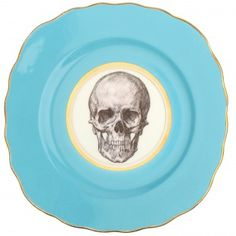 Upcycled Vintage Side Plate with Skull Design