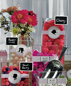 Wedding candy buffet signs as low as $6.38.  Decorative bands around containers are an expensive way to take your candy buffet to the next level