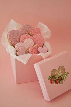 valentine box, valentine cookies, valentine treats, gift, valentine day, heart cookies, shower favors, pink, biscuit