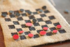 DIY Burlap Bag Checkerboard
