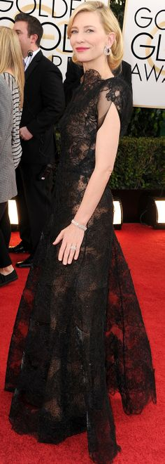 Cate Blanchett in Armani on the Golden Globes red carpet