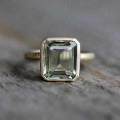 Emerald Cut Green Amethyst Ring, Prasiolite Ring in Recycled 14k Yellow Gold, Made in Your Size on Etsy, $898.00