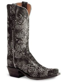 Lucchese Boots - Handcrafted 1883 Black Python Print Cowboy Boots - Snip Toe