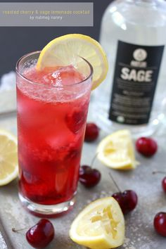 Roasted Cherry and Sage Lemonade Cocktail by Nutmeg Nanny