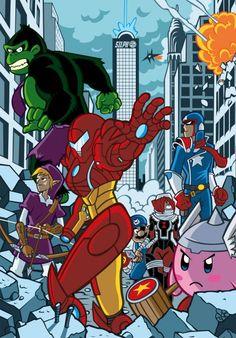 The Nintenders. Nintendo. Avengers. Kirby. Iron Man. Hulk. Donkey Kong. Link. Zelda. Legend of Zelda. Captain America.
