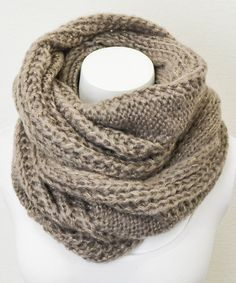 Mocha Cable Knit Infinity Scarf