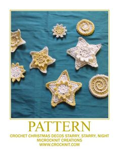 Crochet Christmas Decos Stars Suns Moons Pattern