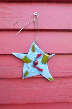 Blue fused glass star Christmas ornament by PiecesofhomeMosaics, $25.00