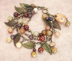 Nuts  Berries Jade Charm Bracelet - Antique Brass Multi-strand on Etsy