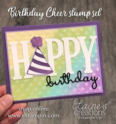 Elaine's Creations: How to Create a Rainbow Birthday Card with an Embossing Paste Overlay