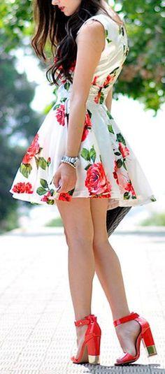 Red Rose Swing Dress ♥