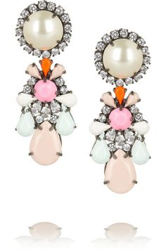 SHOUROUK Marguerite Swarovski crystal and faux pearl earrings