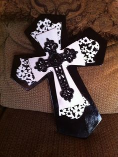 Large Black and White Wood Cross by SignsBYDebbieHess on Etsy, $35.00