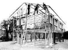 Construction of temporary housing, July 1947