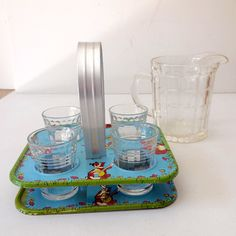 Child's Glass Lemonade Set with Tin Litho  Tray - Pitcher Marked HA for Hazel Atlas - 'Promotional item made by Hazel Atlas for Northwestern Products Co.' Sold as 'Little Deb' -  1930-40's