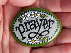 A Gentle Prayer / Painted Rock/ Sandi Pike Foundas / Sea Stone from Cape Cod