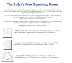Bailey's Free Genealogy Forms  #wikichicks #genealogy