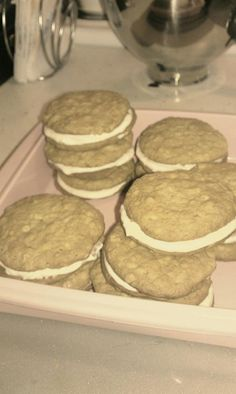 Homemade oatmeal whoopie pies and homemade cream filling made with sweet almond milk...Inspired by the Pioneer Woman's recipe