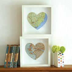 map heart shadow box.