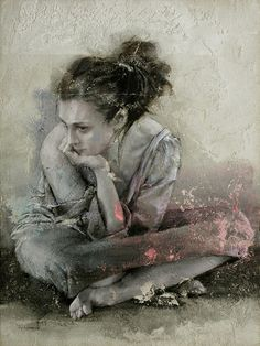 Artist: Pier Toffoletti (b. 1957); Italy {contemporary figurative female seated woman painting}